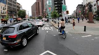 Cycling in NYC from Wall Street, Manhattan to Williamsburg, Brooklyn during Rush Hour