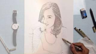 Baixar Happy Birthday Tara - Beautiful Woman Cross Hatching / Line Drawing