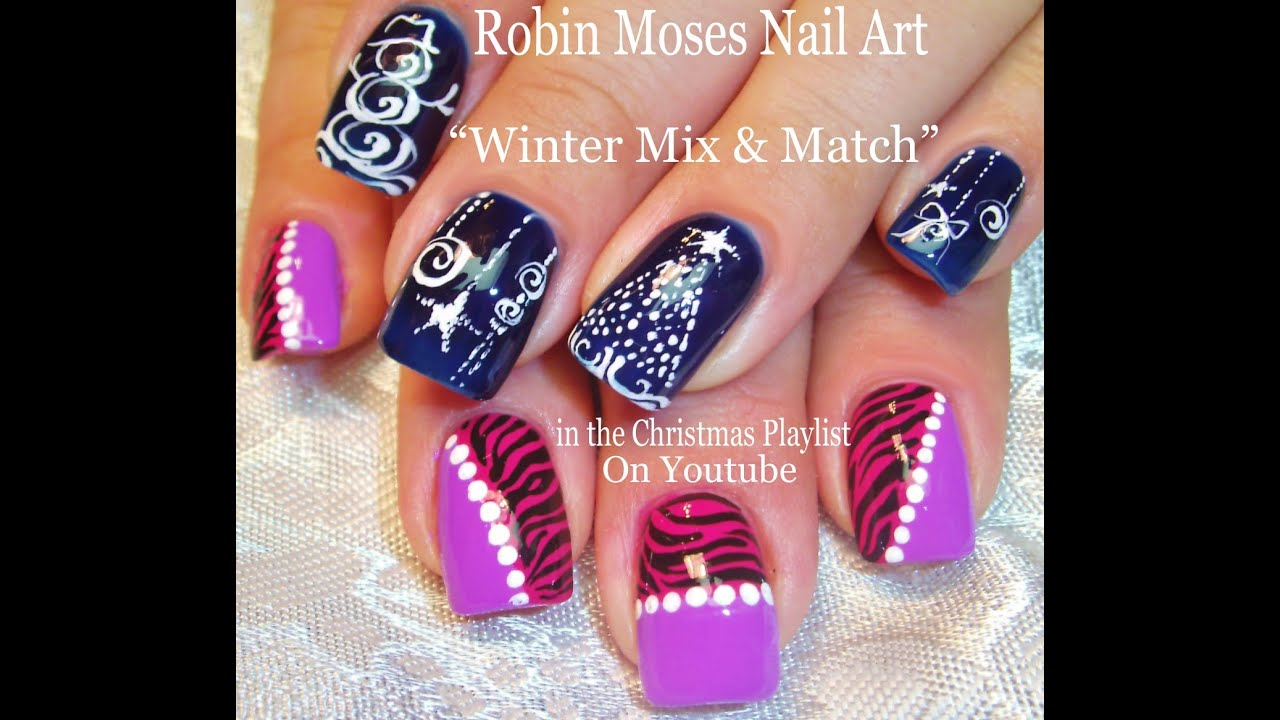 Christmas Nail Art | Christmas Tree Ornament + Animal Print Nails ...