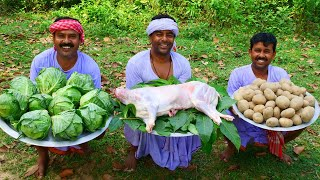 MUTTON curry & GOBI Recipe | Village Style Cooking Spicy Mutton Masala Curry for Village People