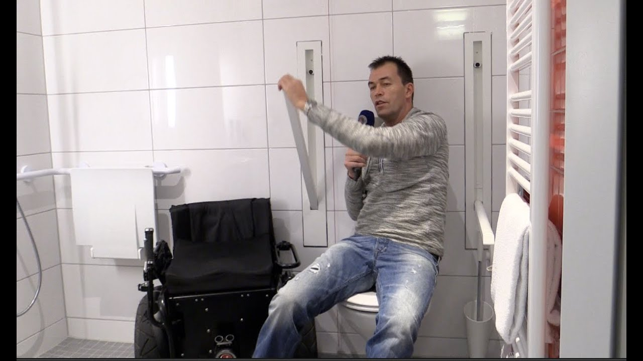 Versenkbare Haltegriffe WC barrierefrei Bad Rollstuhl