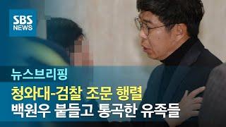 청와대-검찰 조문 행렬…백원우 붙들고 통곡한 유족들 / SBS / 주영진의 뉴스브리핑