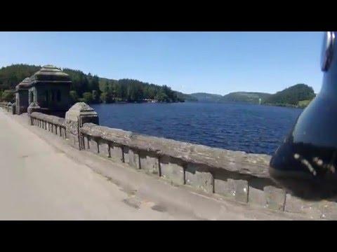 Crossing the Lake Vyrnwy Dam at Llanwddyn in Powys