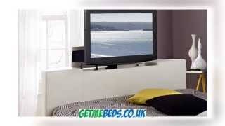 York White Leather Tv Bed, Quality White Beds