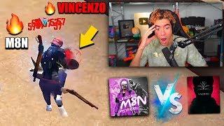 REACCIONANDO A M8N VS VINCENZO !! JUGADOR DE MOVIL CONTRA JUGADOR DE PC EN FREE FIRE | TheDonato