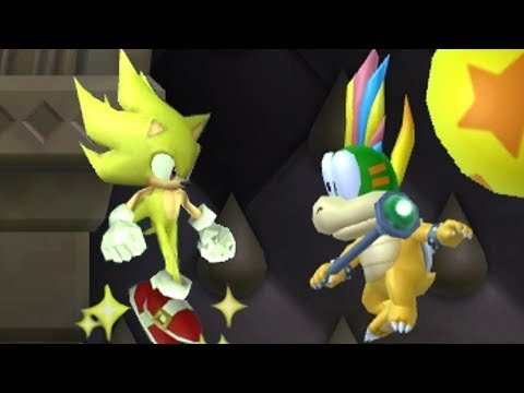 New Super Mario Bros Wii - All Bosses with Super Sonic