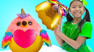 Wendy and Alex Pretend Play Opening Giant Rainbowcorn Surprise Eggs