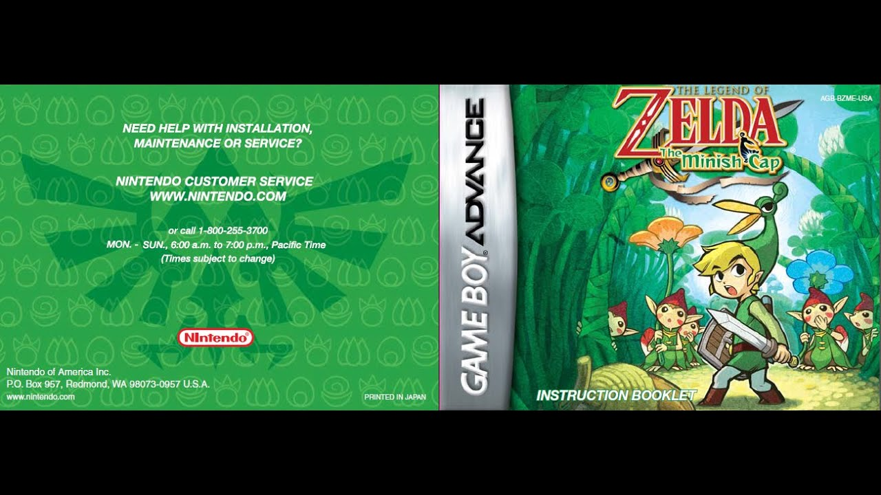 The Legend Of Zelda The Minish Cap Game Manual Gba Instruction