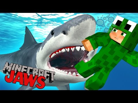 Minecraft - JAWS - SURVIVE THE SHARK ATTACK!? - Custom Mod Adventure