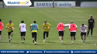 Real Madrid Players Warm Up in Training