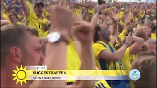 Succéstraffen för Sverige – så reagerade fansen  - Nyhetsmorgon (TV4)
