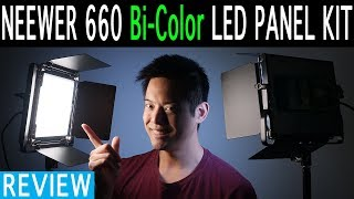 neewer 660 LED Kit Review  Bi Color  Fanless  Over 4 Hours on NPF Battery  Spot Beam
