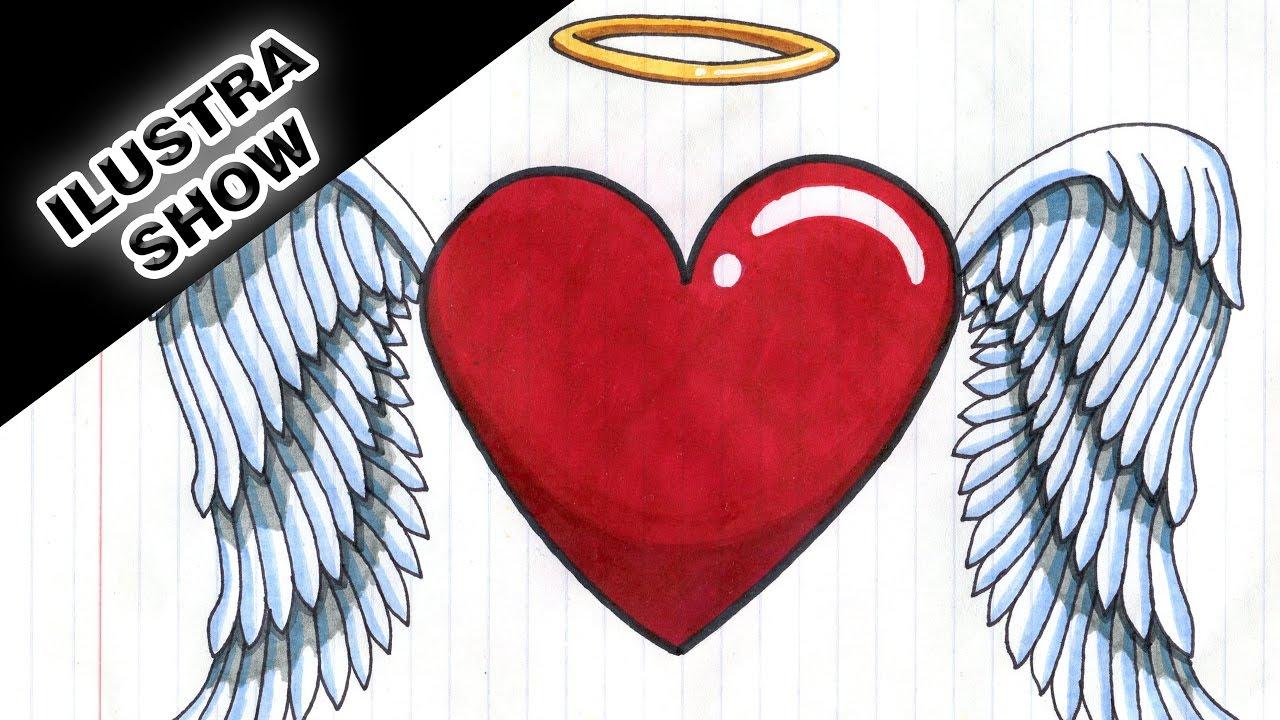 Como Dibujar Y Colorear Un Corazón Con Alas Corazones Tutorial