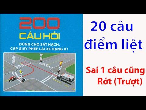 20 câu điểm liêt trong bộ 200 câu hỏi thi bằng lái xe A1 áp dụng 2020