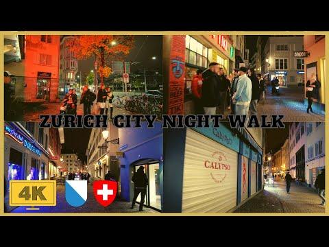 4K Zurich City Night Walk - Zurich Central - Niederdorf And Limmatquai With Sound