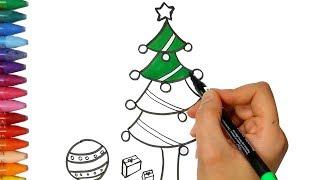 圣诞树 - 画圣诞树 - 圣诞树着色 - 如何绘画和颜色孩子电视