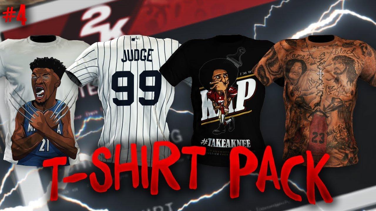 online retailer dc8c6 00b10 NBA 2K18 MyPARK T-Shirt Pack 4 (Aaron Judge Yankees Jersey, Colin  Kaepernick, J.R. Smith)