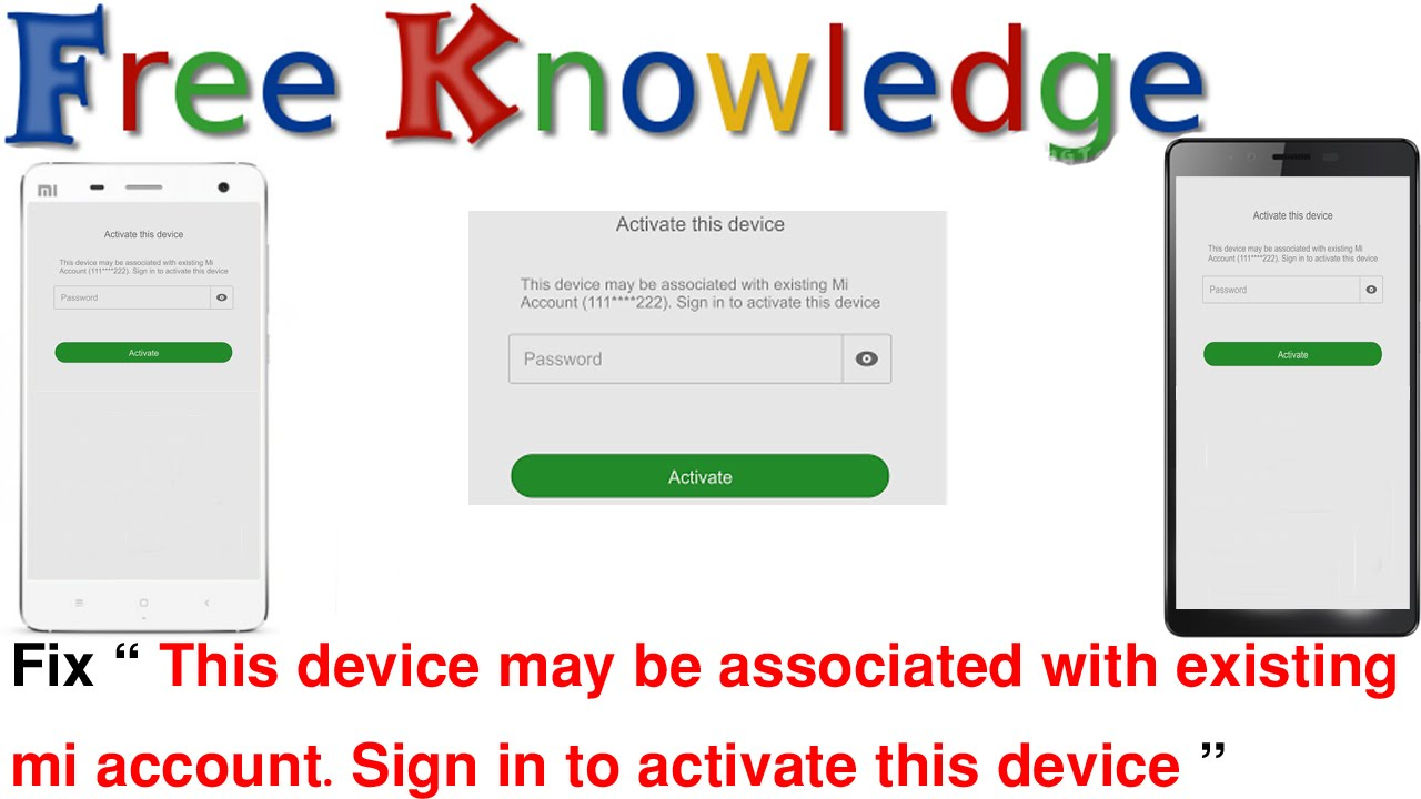 This device may be associated with existing mi account  Sign in to activate  this device in hindi