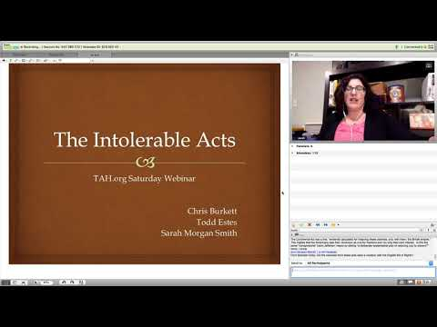 Saturday Webinar: Intolerable Acts