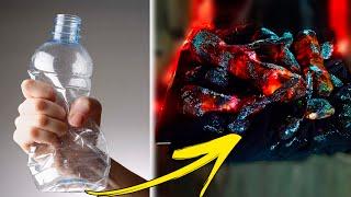 имитация горящих дров своими руками из пластиковых бутылок и гирлянды /Imitation of burning firewood
