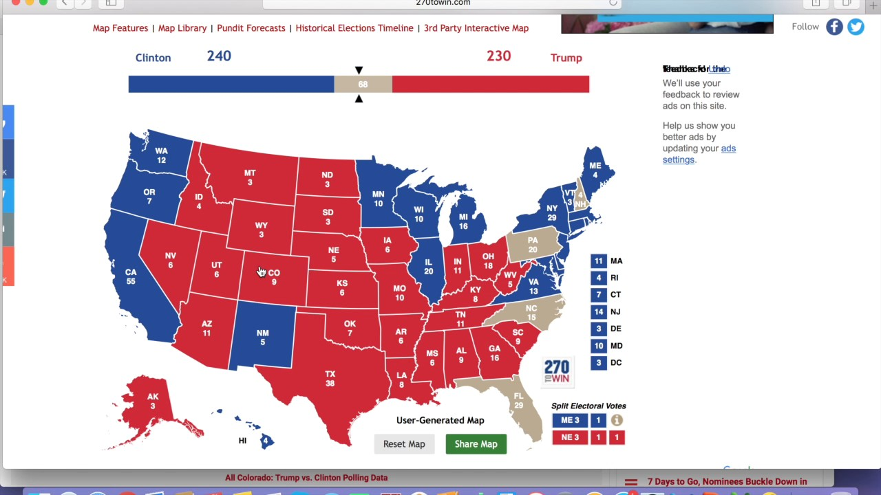 Donald Trump Can Win Electoral Map 1103 Youtube - 2017-us-election-map