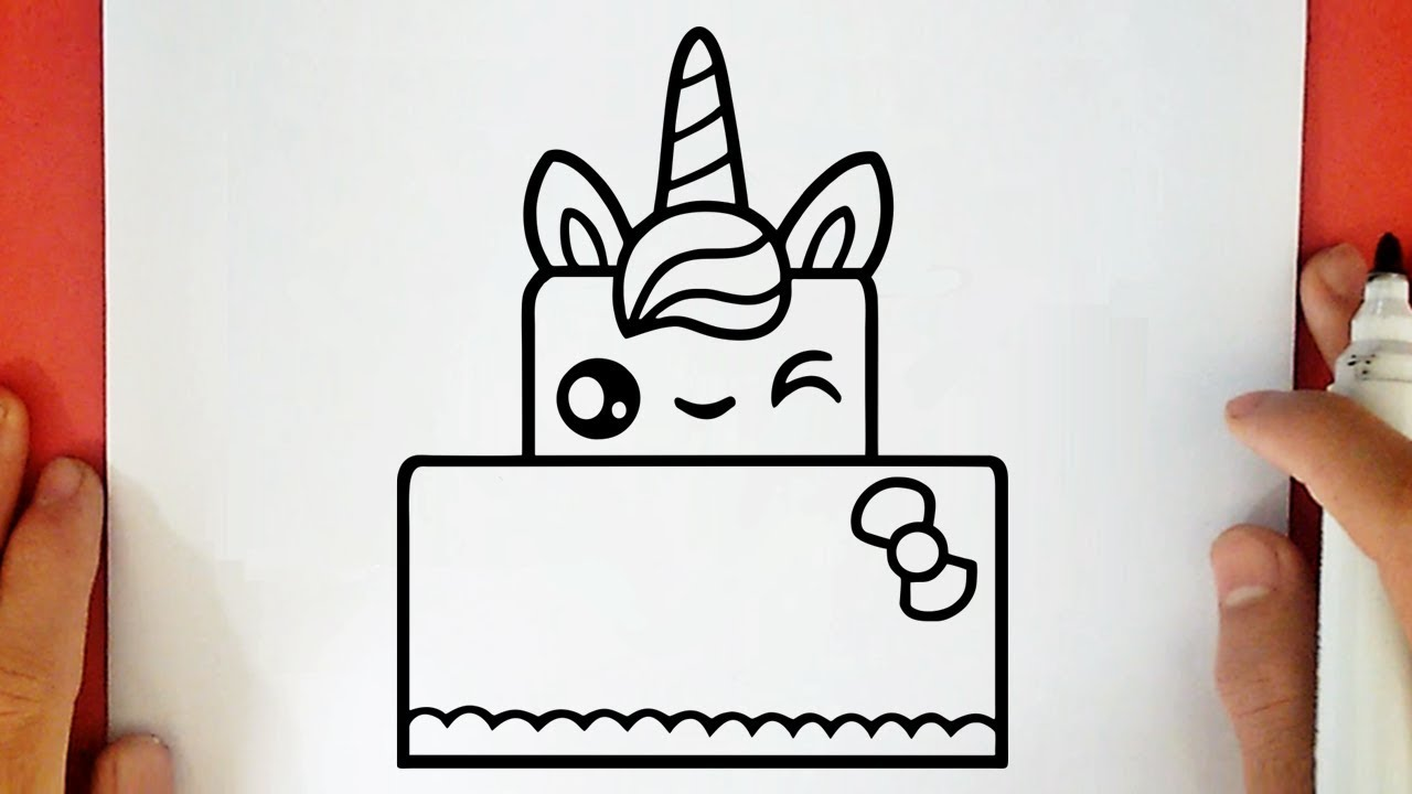 Como Dibujar Una Torta Unicornio Kawaii