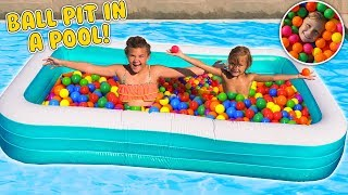 MASSIVE FLOATING INFLATABLE BALL PIT IN OUR POOL!!! | Slyfox Family