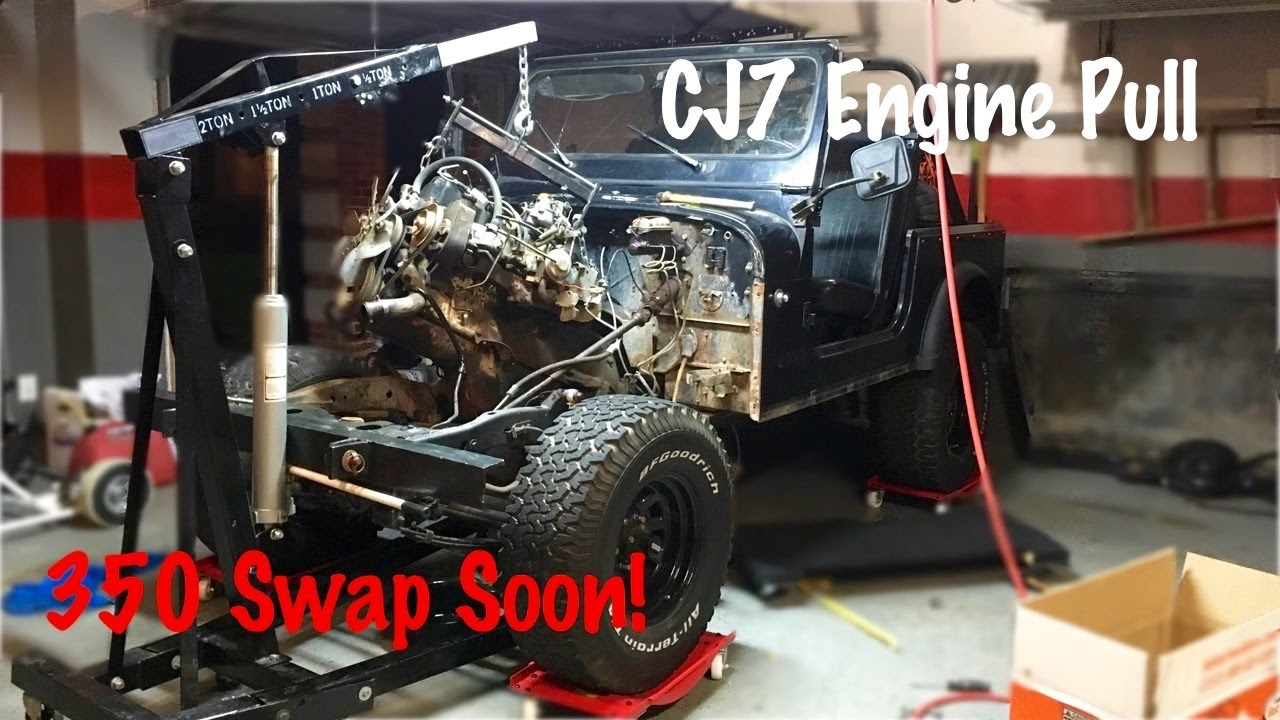 medium resolution of engine and drivetrain removal jeep cj7 build part 2