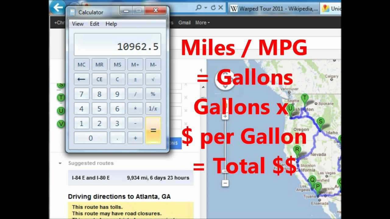 calculate your band s tour s gas cost using google maps youtube
