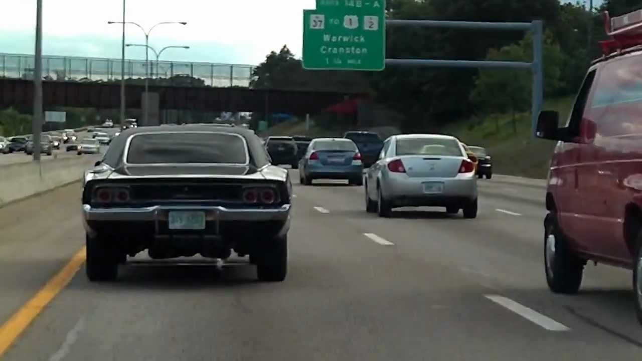 Vintage Dodge Charger 1968 Black Muscle Car Driving On Highway Youtube