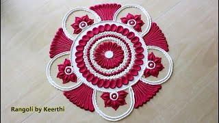 Tulsi vivah rangoli design using 2 colours l तुलसी विवाह रंगोली डिझाईन l Rangoli designs with colour