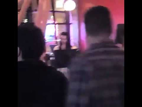 Laura Prepon singing on a Karaoke at the OITNB wrap party