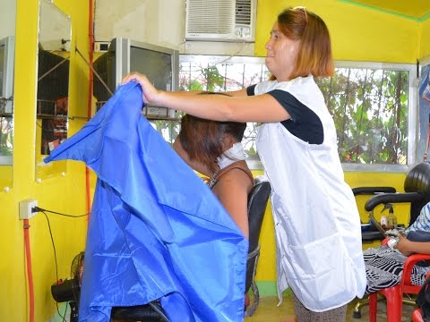 Caping by barber girl