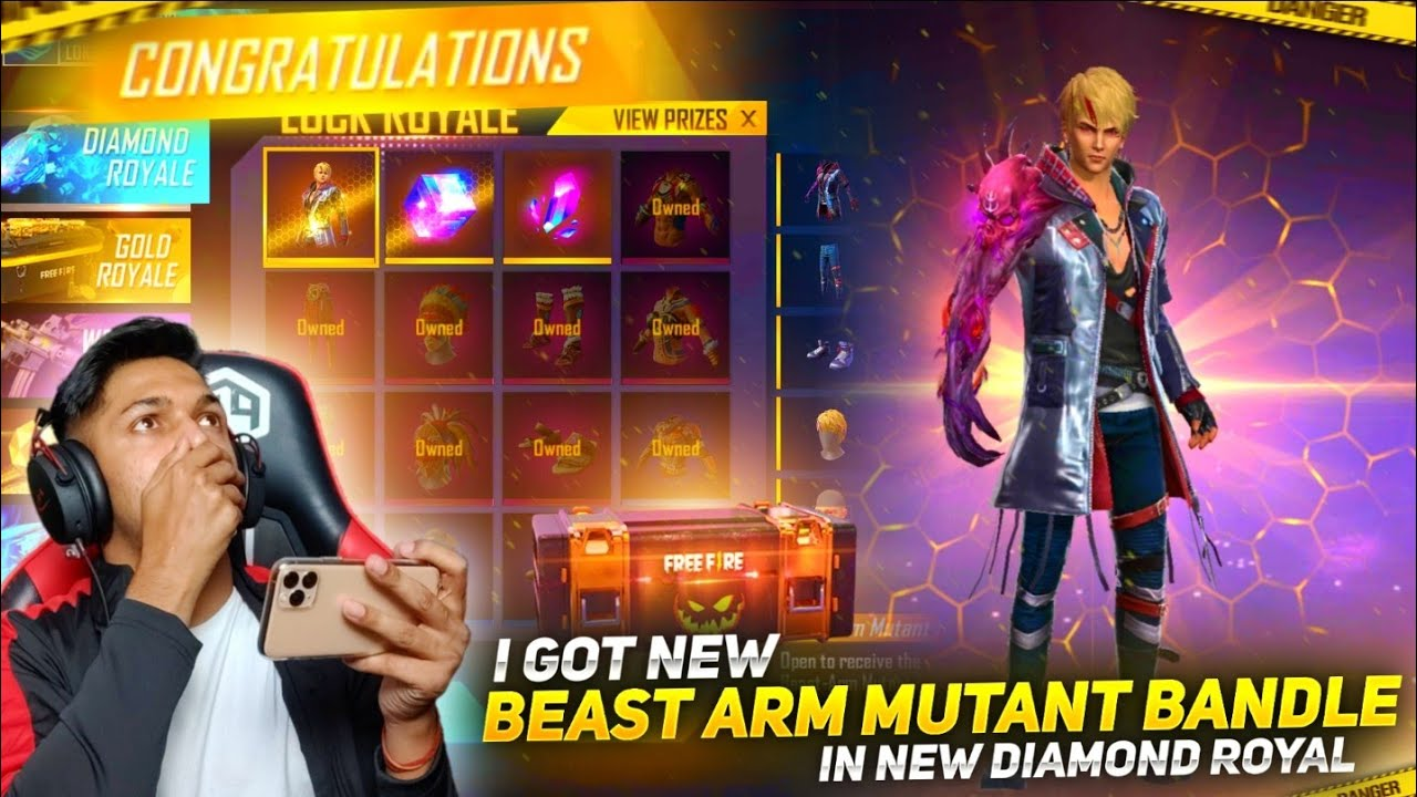 New Diamond Royale I Got New Beast Arm Mutant Bundle In One Spin😱😱 At Garena Free Fire 2020