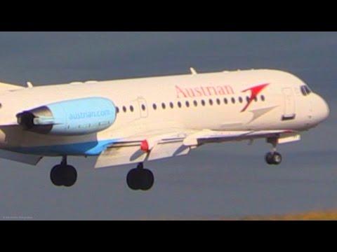 Austrian Fokker 70 Landing at Corfu - CFU Plane Spotting - Nice Airport View