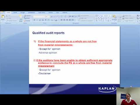Types of audit reports Masterclass by Kaplan - YouTube