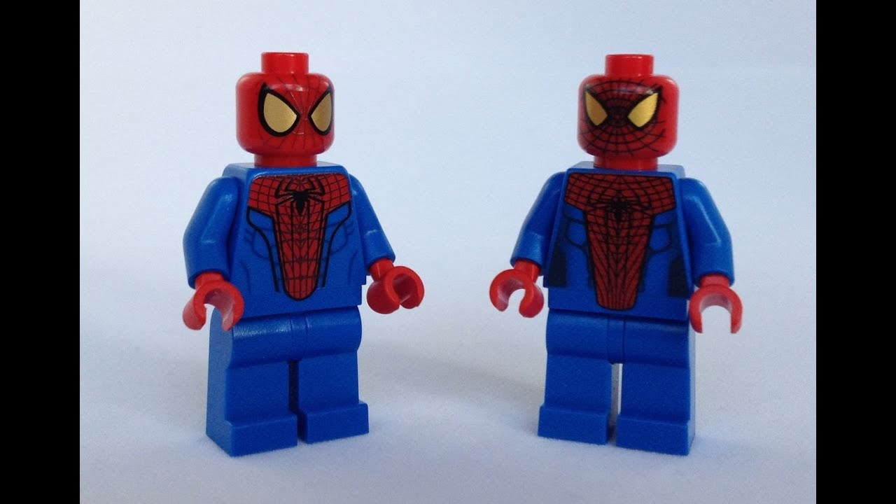 Lego spider man minifigure comparison review youtube - Lego spiderman 2 ...
