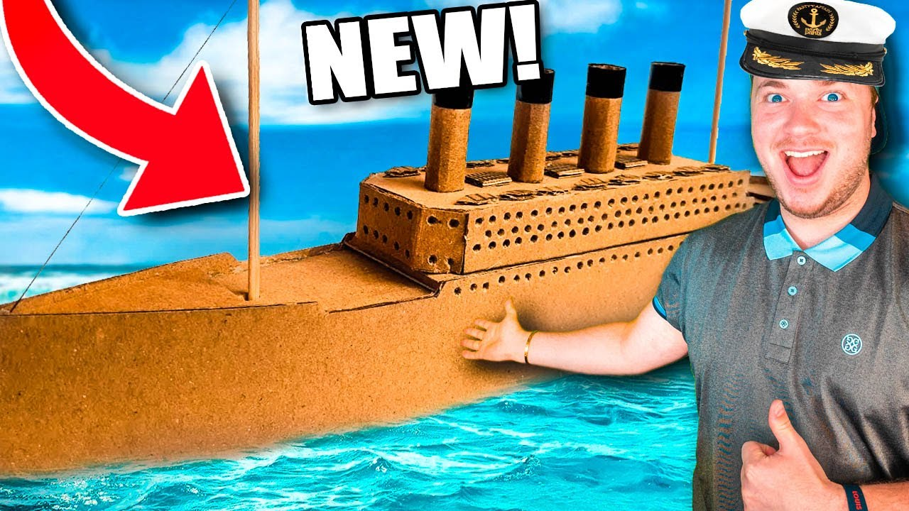 BUILDING The Box Fort Titanic! Worlds Largest Cardboard Boat (24 Hour Challenge)