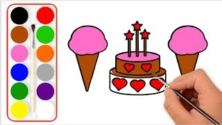 Ice Cream Drawing And Coloring For Kids -Videos for kids with paint-Ice Cream draw for Babies