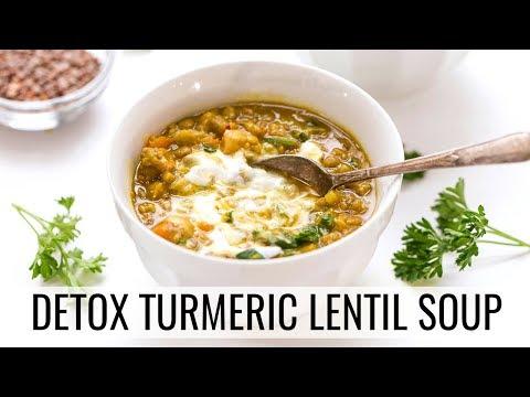 DETOX TURMERIC LENTIL SOUP   hearty vegan soup recipe