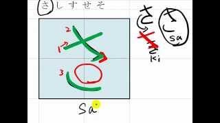 """3. How to write Hiragana, """"sa shi su se so"""" さしすせそ in hand writing"""