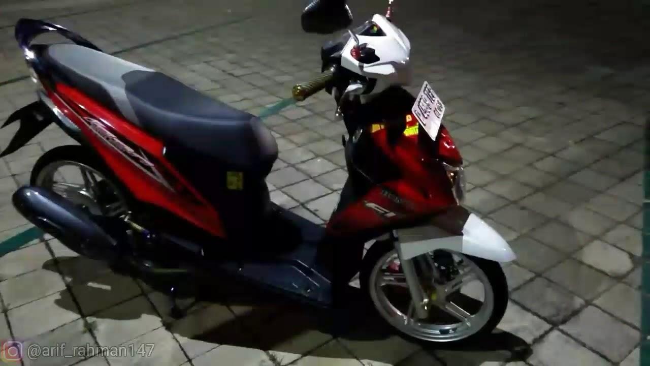 Honda Beat Fi 2015 Modif Merah Kombinasi Putih Youtube