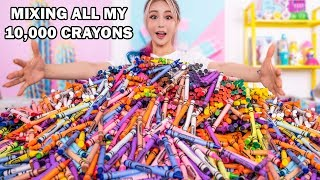Mixing Together ALL My 10,000 Crayons Into GIANT Crayons
