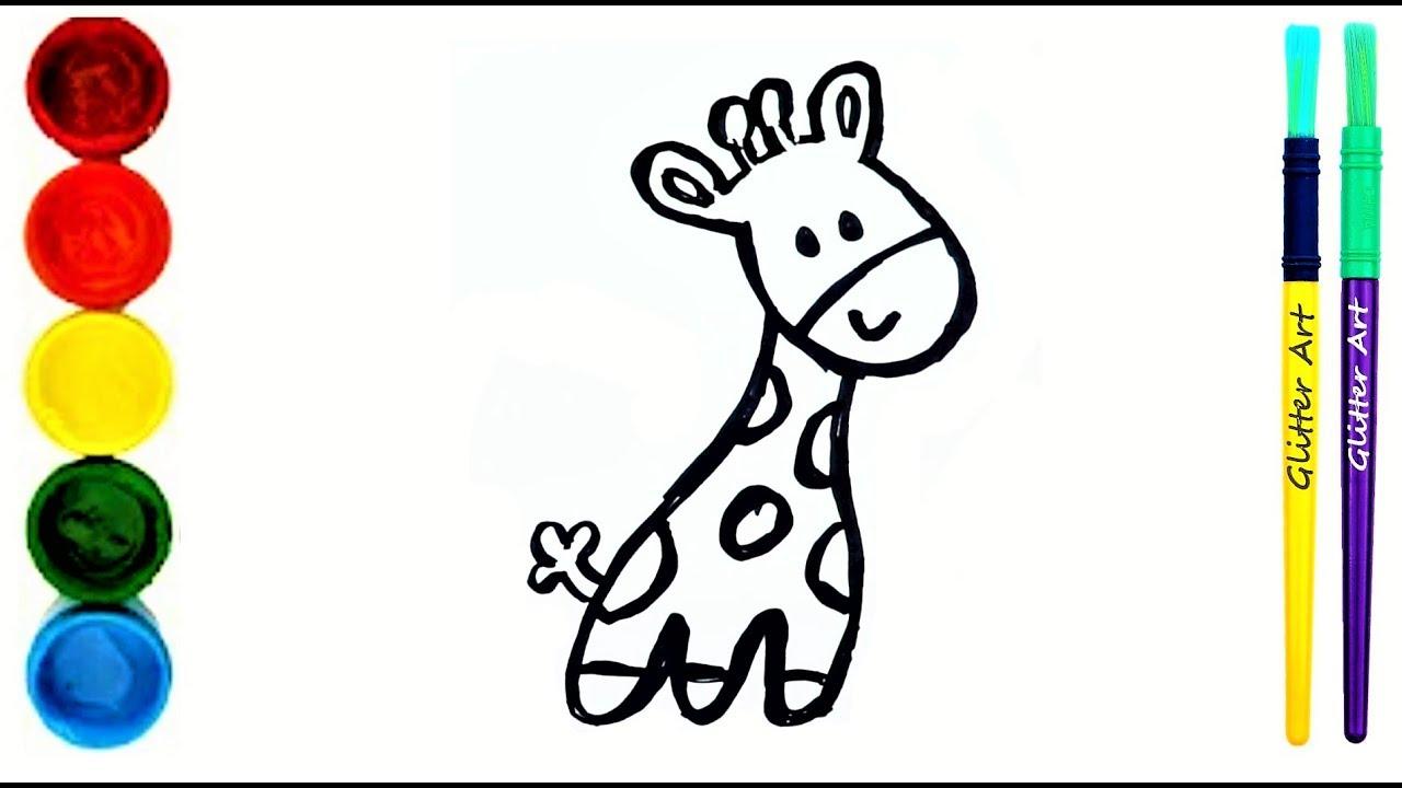 Süße Giraffe zeichnen, Malvorlage für Kinder Cute Giraffe coloring Book  for kidsGlitter Art