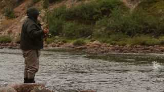 Fishing for atlantic salmon on the Kola Peninsula on Tipanovka river