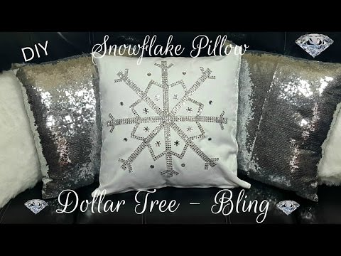 DIY DOLLAR TREE WINTER BLING SNOWFLAKE NO SEW PILLOW - GLAM HOME DECOR CRAFT