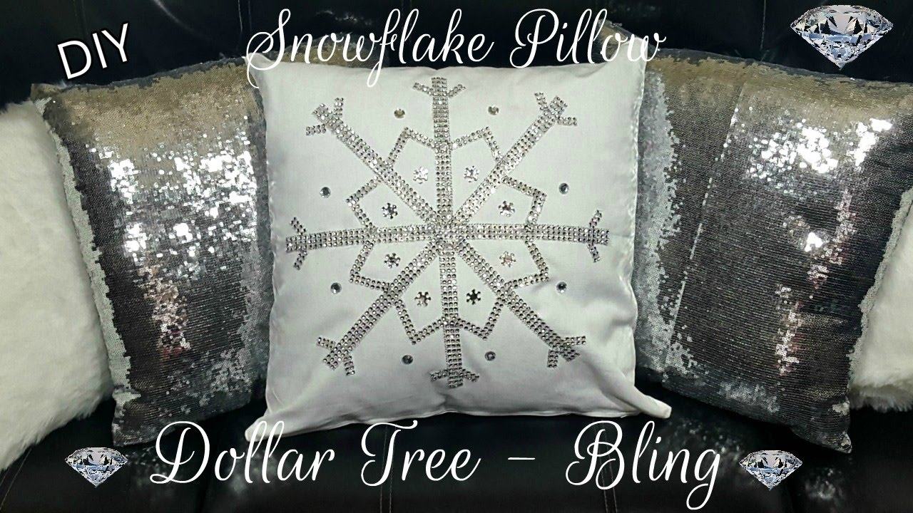 diy dollar tree winter bling snowflake no sew pillow - glam home