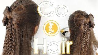 Бант из волос на косе. Прическа на 1 сентября // Back to school hairstyle. Hair bow with braids