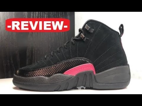 best service 628de 6010f AIR JORDAN 12 BLACK PINK HUSH RETRO SNEAKER REVIEW