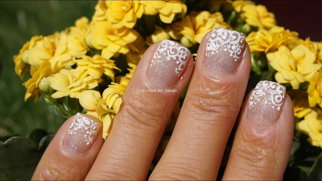 White On Silver Glitter Unusual French Manicure Filigree Effect Nail